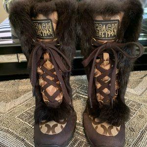 Coach Fur Trimmed Snow Boots